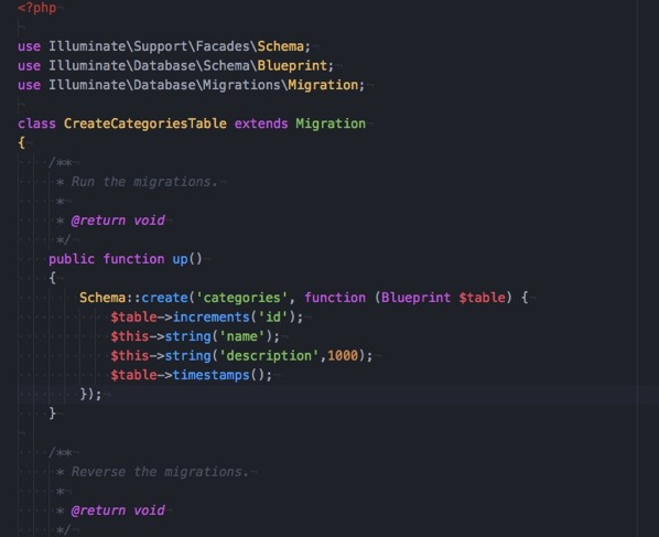 2017 11 25 065815 create categories table php Dropbox Local MAMP htdocs dev Laravel RESTFulAPI